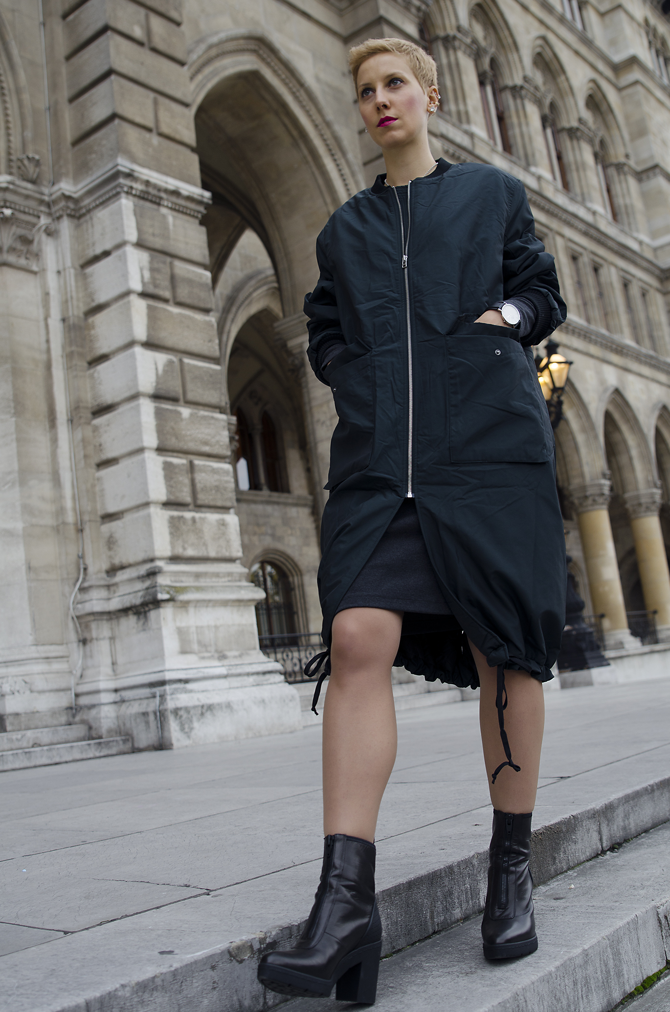 long bomber jacket knitted dress alexander wang x h&m