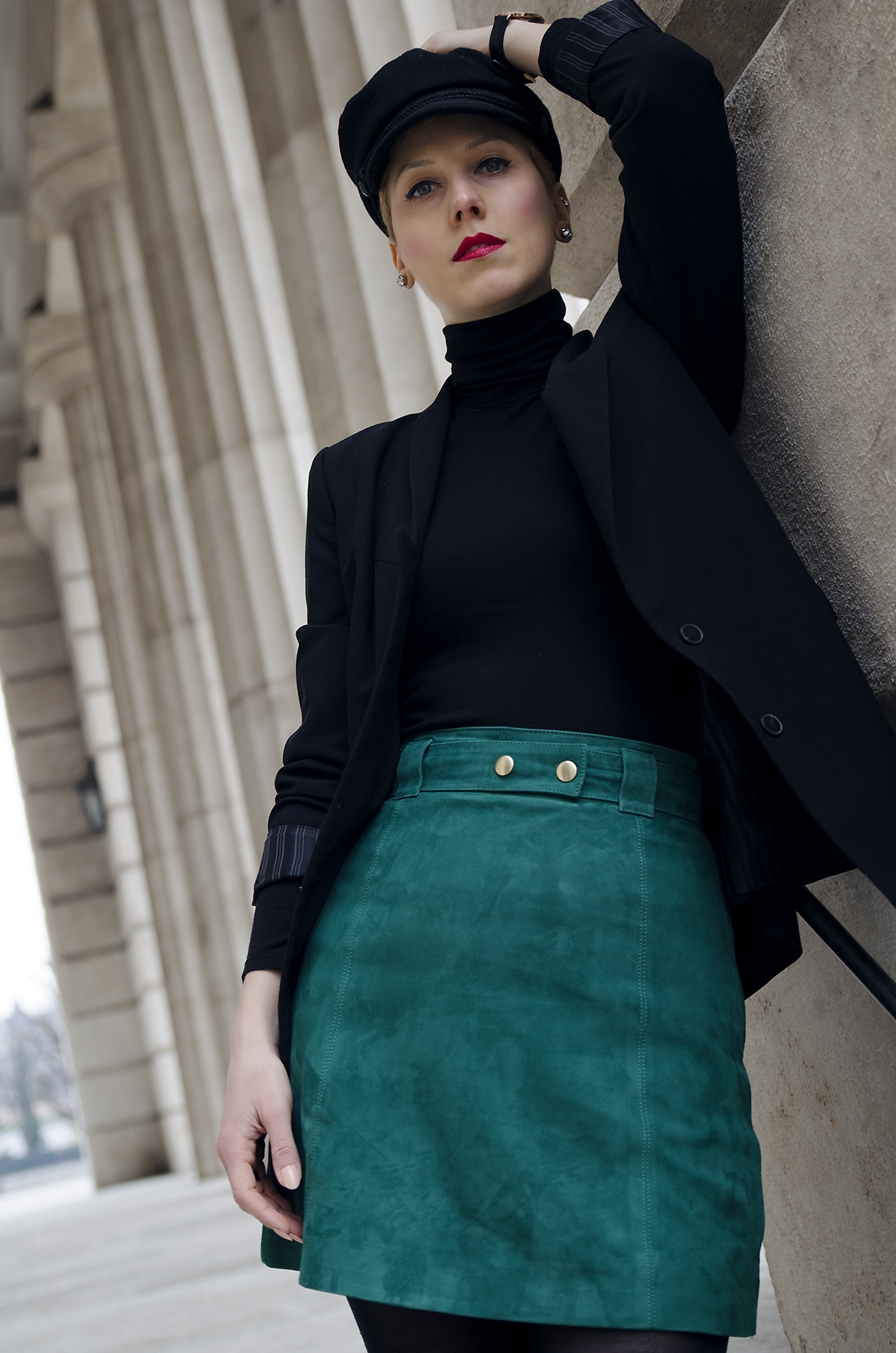 Green suede skirt