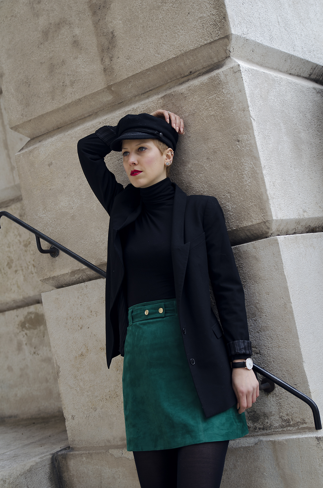 Green suede skirt