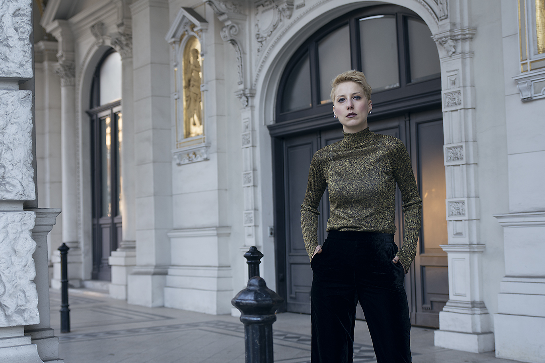 metallic blouse