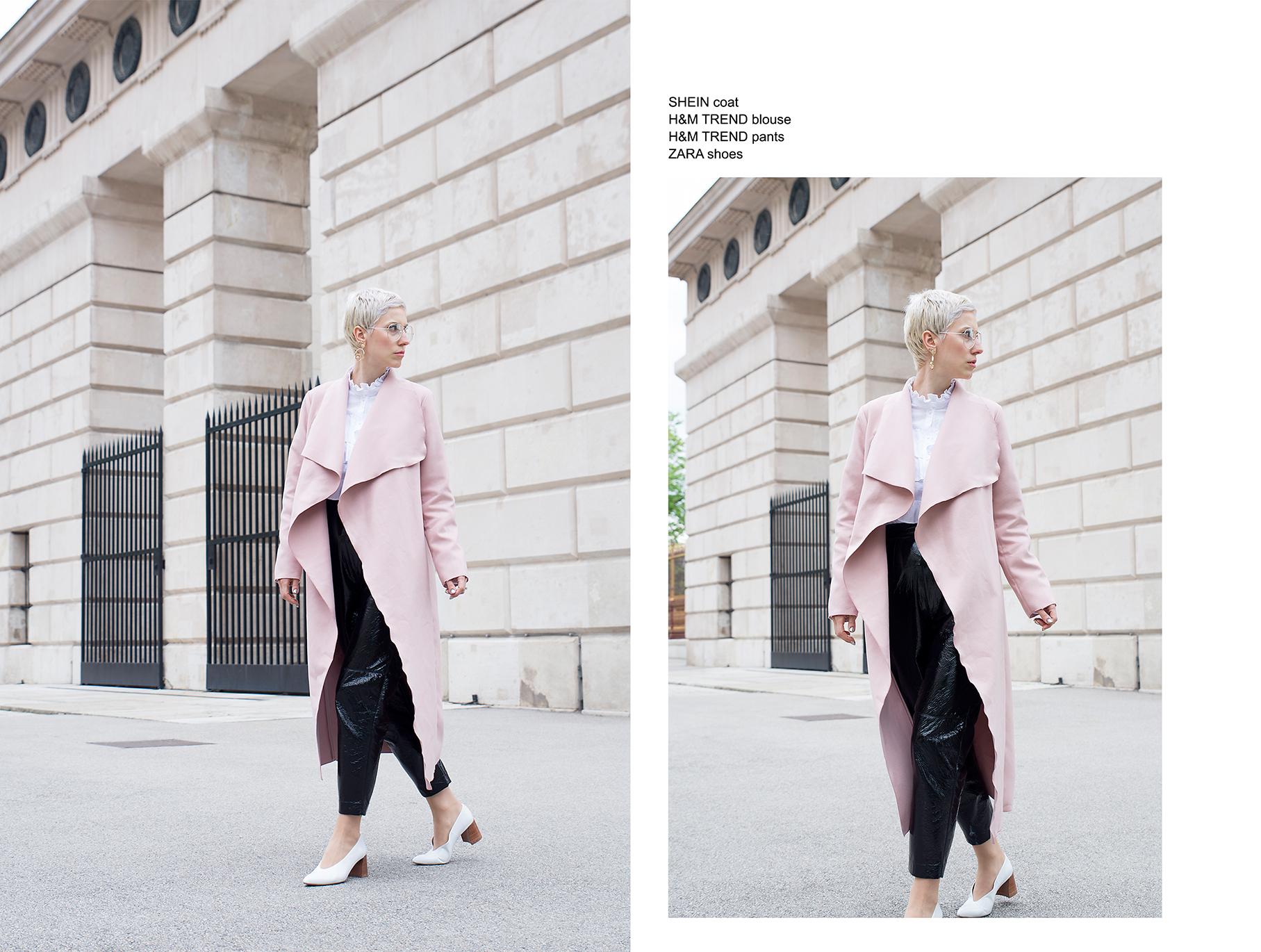 pink maxi coat